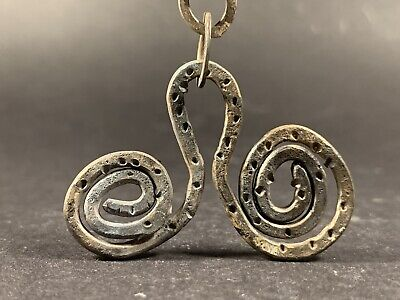 Ancient Celtic Solid Silver Spiral Spectacle Amulet W Original Chain Circa 900Bc