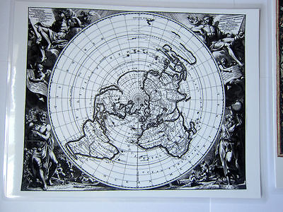 Laminated Flat Map of the World Earth mini map North Polar Projection