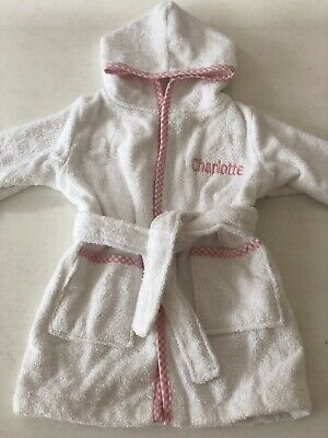 MY FIRST YEARS Girls 6-12m Dressing Gown Hood Robe 'CHARLOTTE' Pink Gingham BN