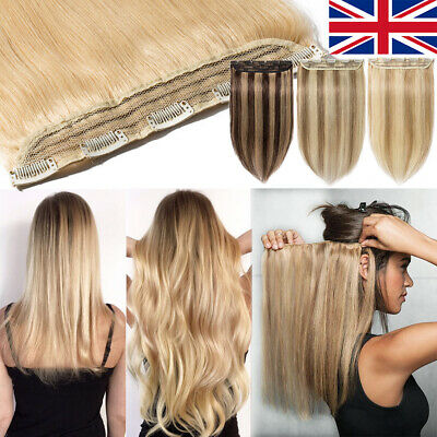 Extra Thick 100% Real Remy Human Hair Extensions Clip In One Piece Ombre Weft A9