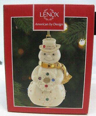 Lenox Holiday GEMS SNOWMAN Ornament Porcelain with Crystals NEW IN BOX