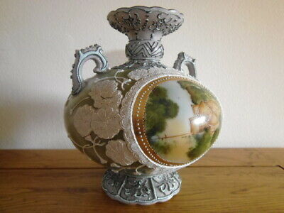 ANTIQUE LATE 1800s JAPAN HAND PAINTED PORCELAIN MORIAGE VASE BY IE&C CO