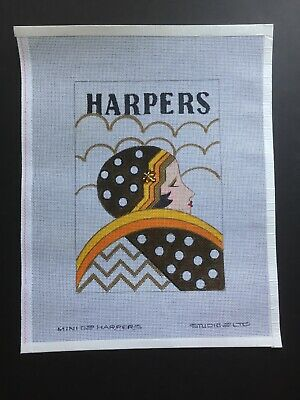 Studio 2 Ltd. Hand-painted Needlepoint Canvas Harpers Vintage Mini Poster