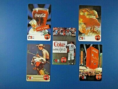 1995 Coca-Cola Phone Card Collection 5 pieces Rockwell Sundblum Collect-A-Card