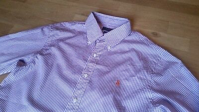 "Ralph Lauren Genuine ""Slim Fit"" Purple & White Striped Shirt Large Smart"