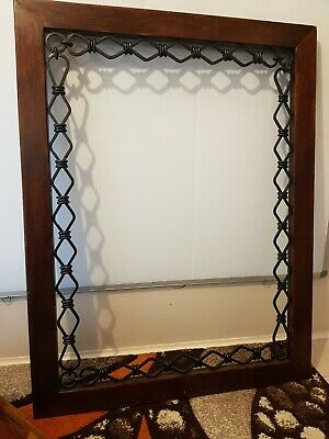 Large vintage cast iron and wooden mirror picture frame good condition