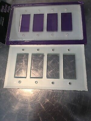 Set If 2 Frosted Mirror Glass Quadruple Rocker Switch Plate Covers