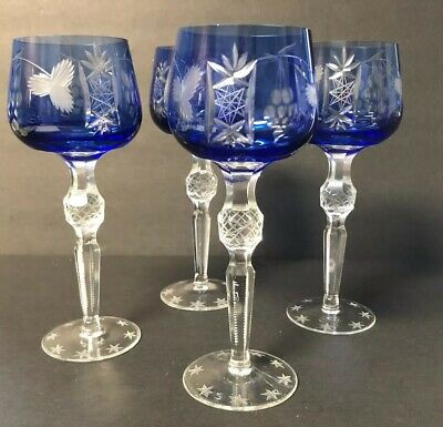 COBALT BOHEMIAN CUT TO CLEAR CRYSTAL WINE HOCK GOBLETS STEMS Lot Of 4
