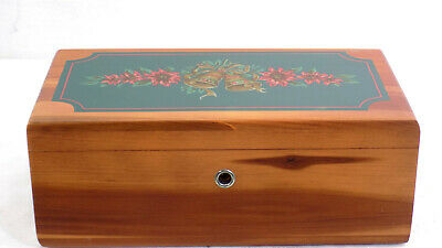 RARE LANE Miniature Cedar Chest Jewelry Box Hand Painted Bells & Poinsettia