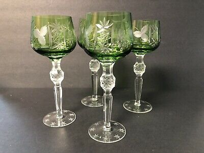 EMERALD BOHEMIAN CUT TO CLEAR CRYSTAL WINE HOCK GOBLETS STEMS Lot Of 4