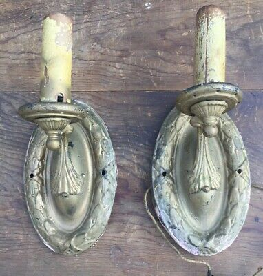 2 Brass Antique Electric Candle Wall Mount Sconces Matching Set
