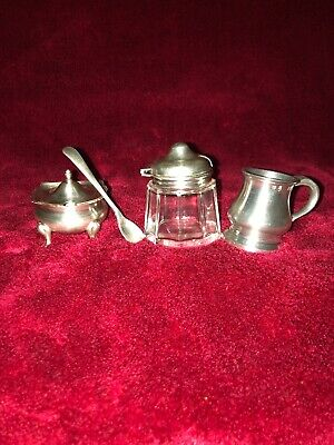 5 Antique Items 1 measuring cup 2 Spoons And 2 Mustard Pots Very Good Condition