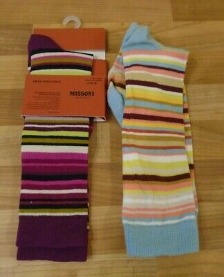 Girl's MISSONI for TARGET striped knee socks size medium two pairs one BNWT