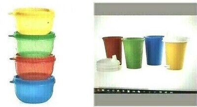 Set of 16 New Tupperware Children Kids  Toddler Snack Bowls & Sippy Cup & Lids