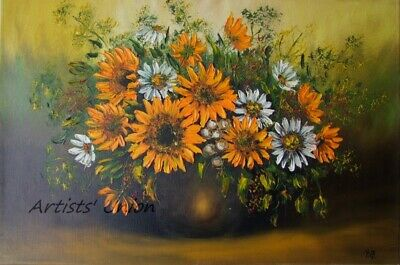 Sunflowers Original Oil Painting Impasto White Daisies Still Life Palette Knife