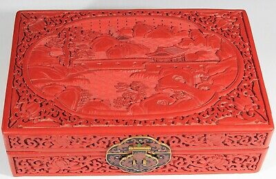 Vintage lacquer Cinnabar Jewelry Box With  Turquoise Lining 1162