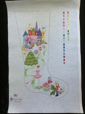 Deux Amis Hand-painted Needlepoint Canvas Colorful Stocking/Sugar Plum Fairy