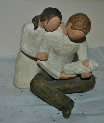 """DEMDACO WILLOW Tree NEW LIFE Susan LORDI 2000 Figure 4.75""""H Mother Father Baby"""