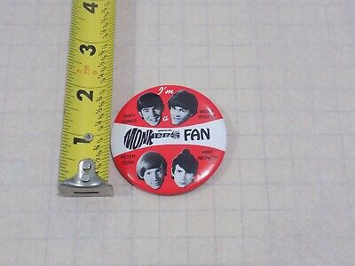 Vintage Official Monkees Fan Button Pin Back Red (Rare) Davy Jones Peter Tork