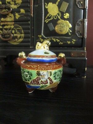 ANTIQUE JAPANESE INCENSE BURNER w Foo Dog Finial HAND PAINT Moriage Deity Gold!