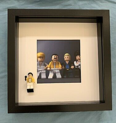 Cornice Vetrina Display Case Lego Compresa Minifigures Freddie Mercury Queen (A)
