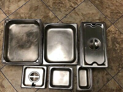 Lot Of 15 Pieces Stainless Steel Steam Table Pan's & Lids