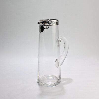 Tall Art Nouveau Sterling Silver Overlay Cocktail or Lemonade Pitcher - GL