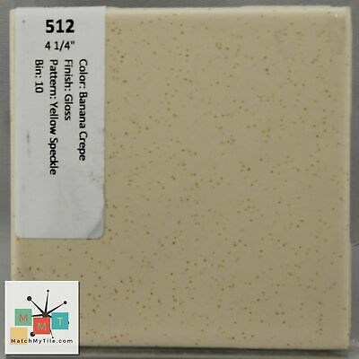"MMT-512 Vintage 4 1/4"" Ceramic 1 pc Tile Banana Crepe Yellow Speckled Glossy"