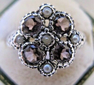 Vintage Art Deco Style 925 Sterling Silver Amethyst and Seed Pearl Size N Ring