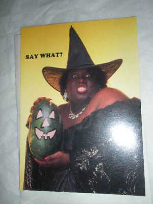 Vtg Racist African American, Black Witch Halloween Watermelon Card