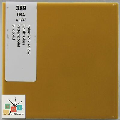 "MMT-389 Vintage 4 1/4"" Ceramic 1 pc Wall Tile USA Yolk Yellow Solid Glossy"