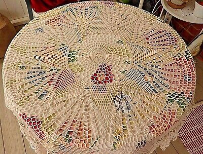 """Antique Hand Crocheted Round Tablecloth 68"""" diameter Ecru ~ Elegant Table Cover"""