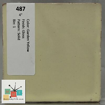 "MMT-487 Vintage 4"" Ceramic 1 pc Wall Tile Garden Yellow Solid Glossy"