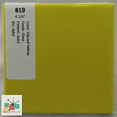 "MMT-819 Vintage 4 1/4"" Ceramic 1 pc Wall Tile Vibrant Yellow Solid Glossy"