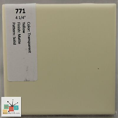 "MMT-771 Vintage 4 1/4"" Ceramic 1 pc Wall Tile Transparent Yellow Solid Matte"
