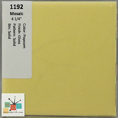 "MMT-1192 Vintage 4 1/4"" Ceramic 1 pc Tile Mosaic Popcorn Yellow Solid Glossy"