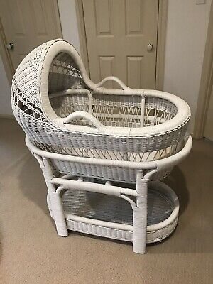 baby bassinet - White Wicker Cane