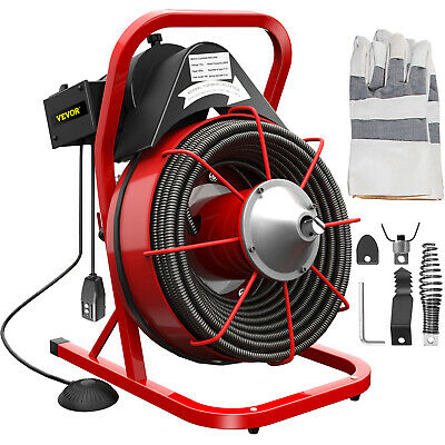 """75ft x 3/8"""" Drain Cleaner 1- 4"""" Pipes Drain Auger Cleaning Machine w/ Cutters"""