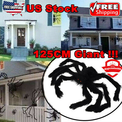 125cm! 75cm Big Huge Giant- Spider Halloween Decor Haunted House Prop Home Party