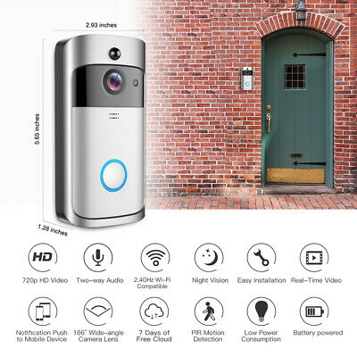 Smart WiFi Video Doorbell with Chime + Batteries (Lasts up to 8 months)