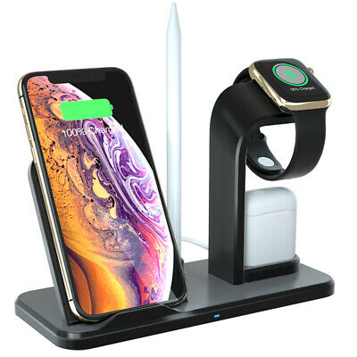 Fast Qi Wireless Charger Dock For Apple iWatch 5/4/3/2/1 AirPods iPhone 11 8 XS