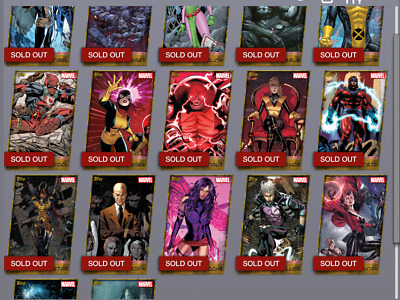 Topps Marvel Collect Card Trader X-men Weekly Wave 1 Complete Gold Die-cut Set