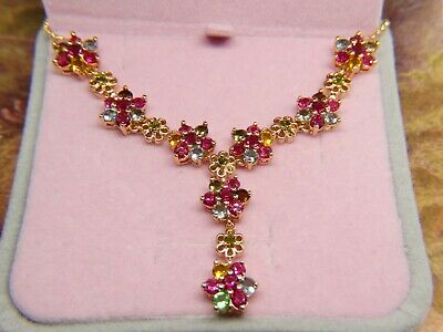 Art deco ANTIQUE style gold tone VINTAGE crystal RHINESTONE chain NECKLACE