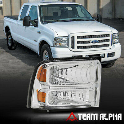 Fits 2005-2007 F250/F350 SD[RH Passenger Side]Chrome Replacement Headlight Lamp