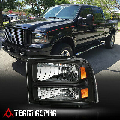 Fits 2005-2007 F250/F350 SD[LH Driver Side]Black Replacement Headlight Headlamp