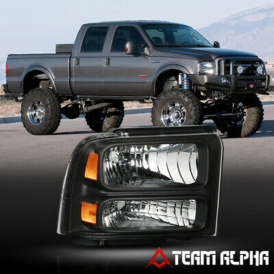 Fits 2005-2007 F250/F350 SD [RH Passenger Side] Black Replacement Headlight Lamp