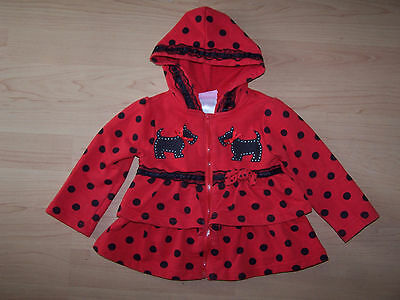 NANNETTE Girls Full Zip Tiered Red With Black Dots Hoodie Size 18 Months
