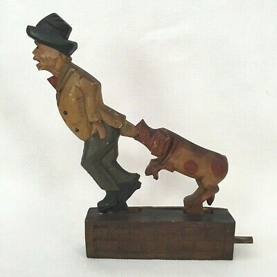 Antique Hand Carved Hand Painted Wood Mechanical Figural Old Man Biting Dog
