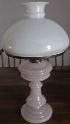 ANTIQUE MILK GLASS KEROSENE OIL LAMP & SHADE..51cms High