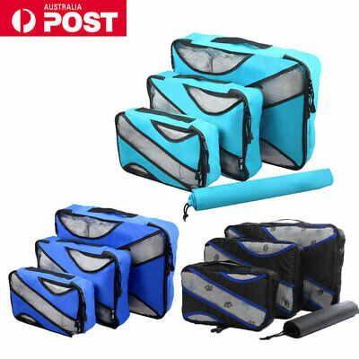4pcs Travel Luggage Suitcase Packing Cubes Clothes Storage Bags Organiser Pouch
